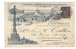 Carte Postale (1895) BORDEAUX EXPOSITION SOCIETE PHILOMATHIQUE DE MAI A NOVEMBRE 1895