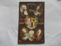 PERSONNAGES - Gloire Aux Alliés Poincaré Nicolas II Georges V Albert Ier  Pierre Ier Pour Le Droit Pour La Patrie - Politicians & Soldiers