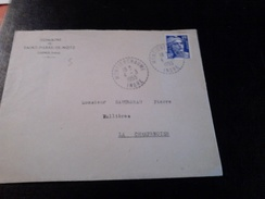 Jolie Lettre 1955 Cachet Pointillé MONTIERCHAUME Indre  Pour La Champenoise  Affr Gandon Au Tarif - Marcophilie (Lettres)