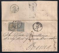 DA ANCONA A ROMA - 21..1864 - TASSATA ALL'ARRIVO PER DUE BAJ. - 1861-78 Victor Emmanuel II