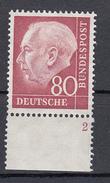 Germania Federale - 1954 - Heuss 80 Pf ** (Bogennummer) - Nuevos