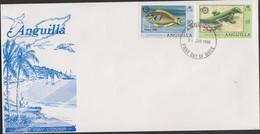 O) 1980 ANGUILLA, ROTARY CLUB - ANNIVERSARY, PARROTFISH-SPARISAMA, GROUND LIZARD ANOLIS GINGIVINUS, FDC XF - Anguilla (1968-...)