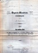 """Hoogstraten Dépôt De Mendicité  1860  3de Trimester En 2de Trimester  """"état Des Sommes Dues.""""  2 Blz Folio"""