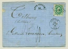 "België - 1871 - 10c On Taxed Cover ""Affr. Insuff"" From Deynze To Tilburg / Nederland - 1869-1883 Léopold II"