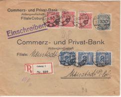 DR-Infla - 3x10+3x20+100 Mio. Korbdeckel, Einschreibebrief Coburg 1.11.23 N.
