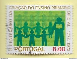 TIMBRES - STAMPS - PORTUGAL - 1973 - 2. CENTENAIRE DE L'ENSEIGNEMENT PRIMAIRE OFFICIEL -TIMBRE OBLITÉRÉ CLÔTURE DE