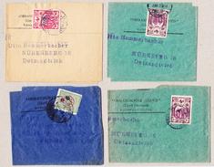 Türkei 4 Zeitungsschriftbänder Osmanischer Loydd Aus Konstantinopel Nach Nürnberg - Lettres & Documents