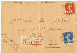 Lettre Recommandée Franchise Militaire FM - Cachet Trésor Et Postes - Secteur Postal 154 étoile 6 - 31.12.1914