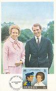 D28792 CARTE MAXIMUM CARD 1973 JERSEY - ROYAL WEDDING PRINCESS ANNE CP ORIGINAL