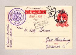 Türkei ADANA 6.5.1918  Ganzsache (von Der Deutsche Schule) Nach Bad Harzburg D - 1858-1921 Empire Ottoman