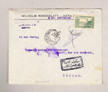 Türkei 10paras Auf Brief  Jerusalem 23.1.1917 Nach Zürich - 1858-1921 Empire Ottoman