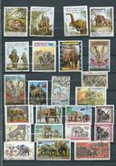 130 TPE - ELEPHANTS LOTS DE 42 TIMBRES OBLITÉRÉS (2 SCAN)