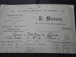 NOTRE-DAME-de-COURSON (14) - Courrier Du 1er Juillet 1911 - Achat UNIFORMES Pour La Cie De SAPEURS POMPIERS - A J. D'Arc - Textile & Clothing