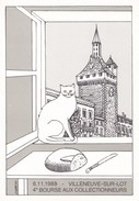 CHAT---47--VILLENEUVE SUR LOT--4e Bourse Aux Collectionneurs--6-11-1988---illust.   J. M. PETEY---voir 2 Scans - Petey