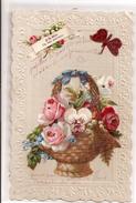 A LA HATE UN BON SOUVENIR - Belle Carte Dentelée, Panier De Fleur Avec Pensée En Tissu, Papillon - Fantaisies