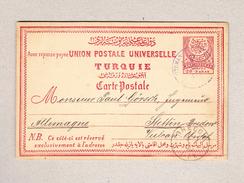 Türkei Smyrne 27.1.1890 20paras Ganzsache Nach Stettin D Transitstempel Bredow - Lettres & Documents