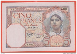 BILLET ALGERIE - 5 Francs Du 09 08 1941 - Pick 77b - - Algeria