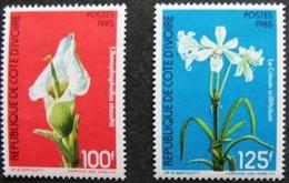 IVORY COAST COTE D'IVOIRE FLOWERS FLEURS FLAURE FLORE 1985 YT 726A/B (SHORT SET, RARE) MNH