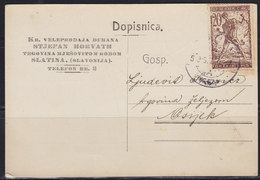 Yugoslavia Kingdom SHS Croatia 1919 Verigari (Chain-breakers) Postal Card From Slatina To Osijek - 1919-1929 Kingdom Of Serbs, Croats And Slovenes