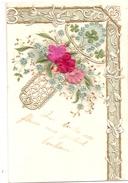 Belle Carte Gauffrée Et Dorée, Fleurs En Tissu - Dos Simple - Fantaisies