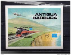 ANTIGUA BLOC 110** NON DENTELE RARE SUR UN TRAIN POUR L EXPO AMERIPEX 86