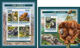 NIGER 2016 ** Monkeys Affen Singes M/S+S/S - OFFICIAL ISSUE - A1707
