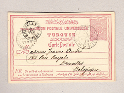 Türkei Smyrne 10.2.1894 Ganzsache 20paras Nach Bruxelles Belgien - 1858-1921 Empire Ottoman