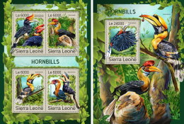 SIERRA LEONE 2016 ** Hornbills Nashornvögel Calao M/S+S/S - OFFICIAL ISSUE - A1707