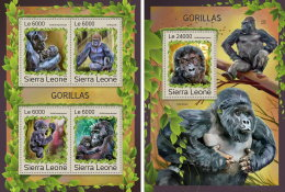 SIERRA LEONE 2016 ** Gorillas M/S+S/S - OFFICIAL ISSUE - A1707