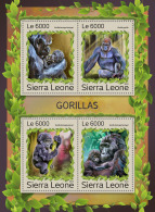 SIERRA LEONE 2016 ** Gorillas M/S - IMPERFORATED - A1707