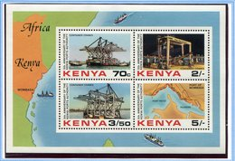 Kenya ** Bloc N° 18 - Grues à Conteneurs Du Port De Mombasa, Carte Du Port - - Kenia (1963-...)