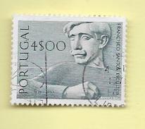 TIMBRES - STAMPS - PORTUGAL - 1971 - SCULPTEURS PORTUGAIS - FRANCISCO SANTOS - TIMBRE OBLITÉRÉ CLÔTURE DE SÉRIE