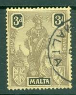 Malta: 1922/26   Emblem     SG131   3d  Black/yellow   Used - Malta (...-1964)