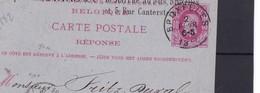 CARTE POSTALE REPONSE Utilisée De BXL Vers La Suisse Par Ambulant  VINS ET SPIRITUEUX BRIAS - 1869-1883 Leopold II