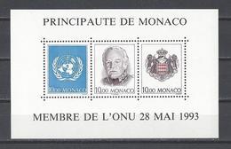MONACO . YT Bloc 62 Neuf ** Admission De La Principauté De Monaco Comme Etat Membre De L'O.N.U. 1993