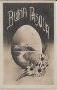 BUONA PASQUA  - B/N ANNI '20 - ED G.R.M. VIAGGIATA IN SVIZZERA 1925 FRANCOBOLLO ASPORTATO - Pasqua