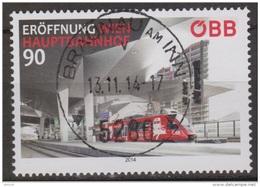 """Österreich 2014:  """"Eröffnung Wien Hauptbahnhof""""   Gestempelt (siehe Foto/Scan)"""