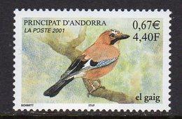 Andorra French 2001 Fauna Bird Eurasian Jay, MNH (A)