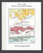 MONACO . YT Bloc 76 Neuf ** Evolution Géographique Du Territoire De La Principauté 1997