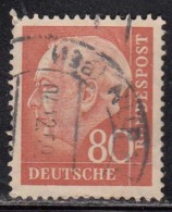 80pf Fine Used, (Small Size), 1954, Pres Theodor Heuss, Deutschland Germany, Bunderpost, (sample Image)