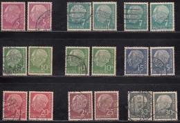 80pf X 9 Diff., Shades / Varieties, Fine Used, (Small Size), 1954, Pres Theodor Heuss, Deutschland Germany, Bunderpost,