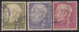 3 Values Fine Used, 1Dm, 2Dm & 3Dm , 1954  Pres Theodor Heuss, Deutschland Germany, Bunderpost, (sample Image)