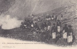 MILITARIA--batteries Alpines En Manoeuvres Dans Les Alpes--voir 2 Scans - Manoeuvres