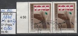 "26.4.1985  -  SM  ""40 Jahre Befreiung Österreichs""   -  2 X O  Gestempelt Mit Allonge Links  - Siehe Scan  (1841o X2 MA)"