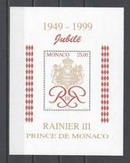 MONACO . YT Bloc 80 Neuf ** Cinquantenaire Du Règne De S.A.S. Le Prince Rainier III 1998