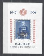 MONACO . YT Bloc 82 Neuf ** 50 Ans De Règne De S.A.S. Le Prince Rainier III 1999