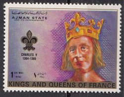 1471 Ajman 1972 Kings And Queens Of France -  Rois Et Reines Charles V Nuovo MNH