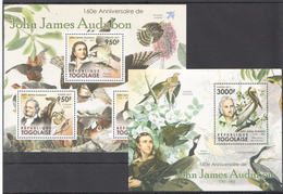 B14 2011 TOGOLAISE FAUNA BIRDS JOHN JAMES AUDUBON KB+BL MNH
