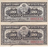 PAREJA CORRELATIVA DEL BANCO ESPAÑOL EN CUBA DE 20 CENTAVOS DEL AÑO 1897 SIN CIRCULAR-UNCIRCULATED (BANKNOTE) - Cuba