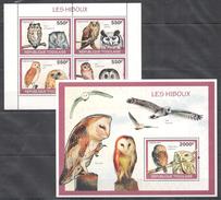 B15 2010 REPUBLIQUE TOGOLAISE FAUNA BIRDS OWLS LES HIBOUX 1KB+1BL MNH